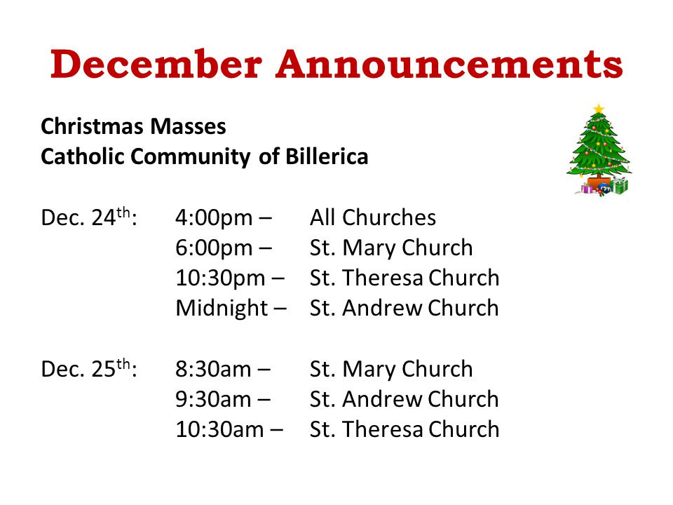 December Announcements Christmas Masses Catholic Community of Billerica Dec.