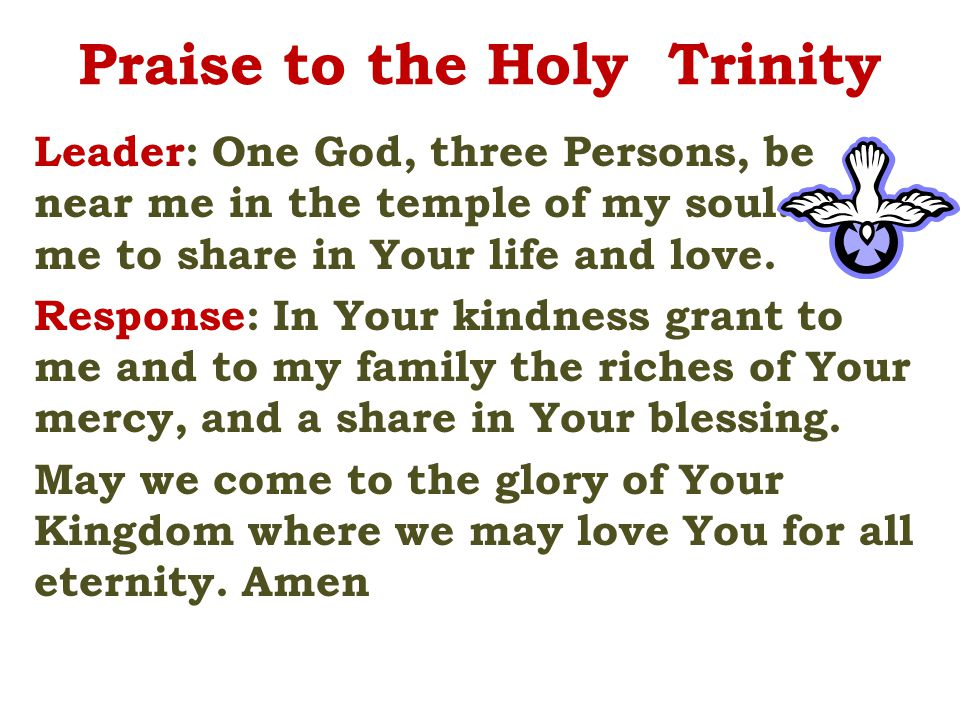Praise to the Holy Trinity Leader: One God, three Persons, be near me in the temple of my soul.