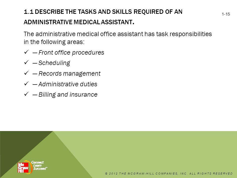 1.1 DESCRIBE THE TASKS AND SKILLS REQUIRED OF AN ADMINISTRATIVE MEDICAL ASSISTANT.