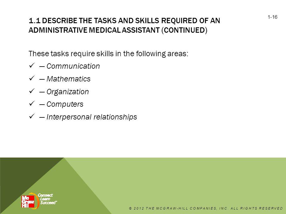1.1 DESCRIBE THE TASKS AND SKILLS REQUIRED OF AN ADMINISTRATIVE MEDICAL ASSISTANT (CONTINUED) These tasks require skills in the following areas: — Communication — Mathematics — Organization — Computers — Interpersonal relationships © 2012 THE MCGRAW-HILL COMPANIES, INC.