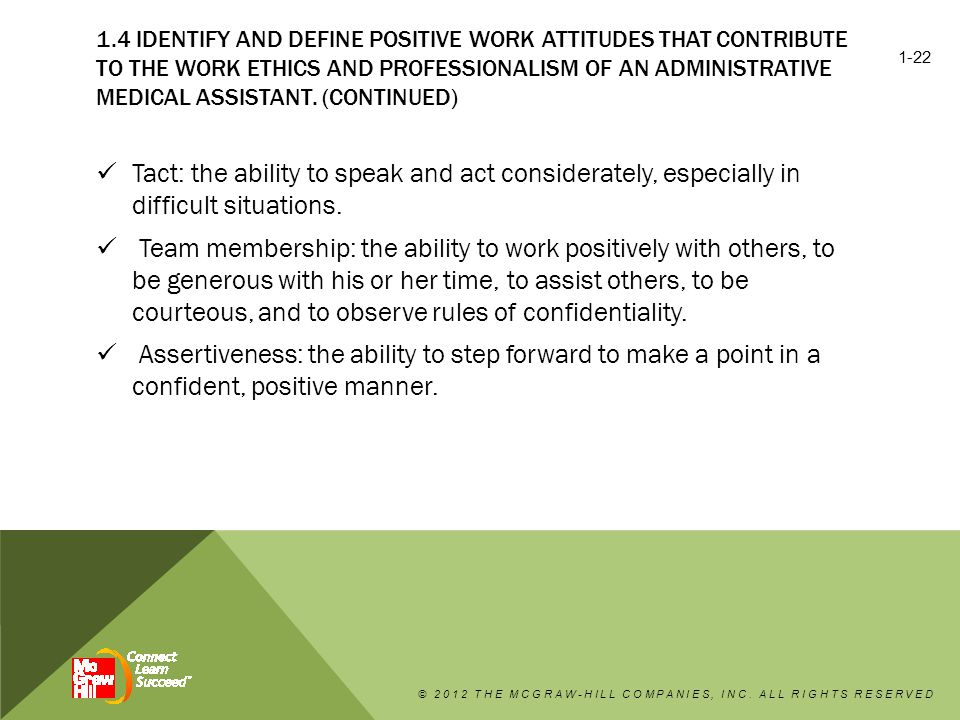 1.4 IDENTIFY AND DEFINE POSITIVE WORK ATTITUDES THAT CONTRIBUTE TO THE WORK ETHICS AND PROFESSIONALISM OF AN ADMINISTRATIVE MEDICAL ASSISTANT.