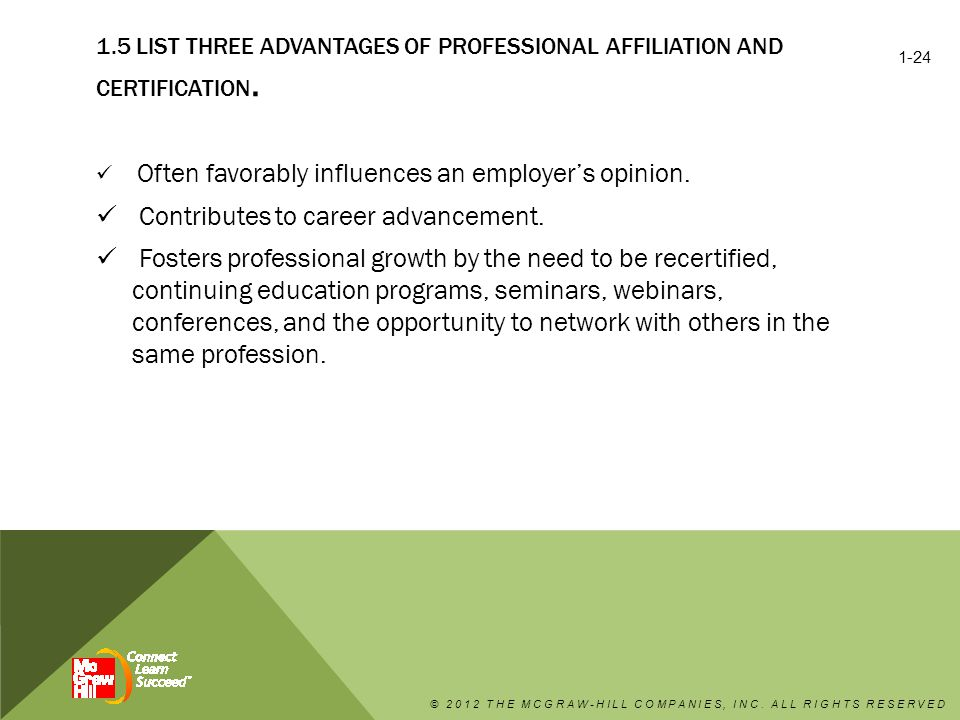 1.5 LIST THREE ADVANTAGES OF PROFESSIONAL AFFILIATION AND CERTIFICATION.