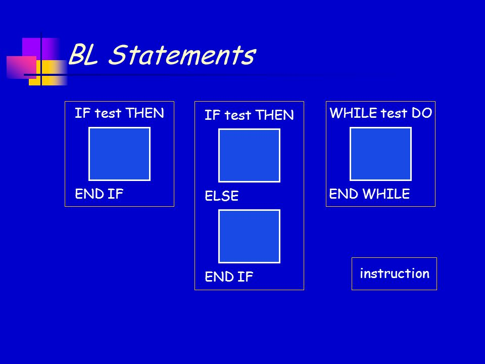 BL Statements IF test THEN END IF WHILE test DO END WHILE IF test THEN ELSE END IF instruction