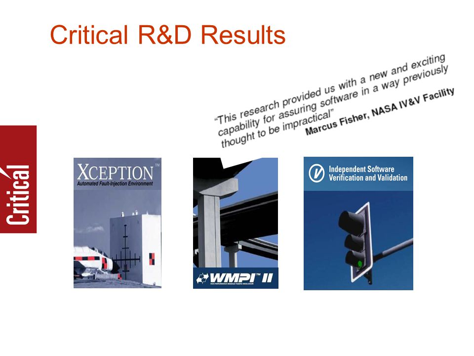 Critical R&D Results