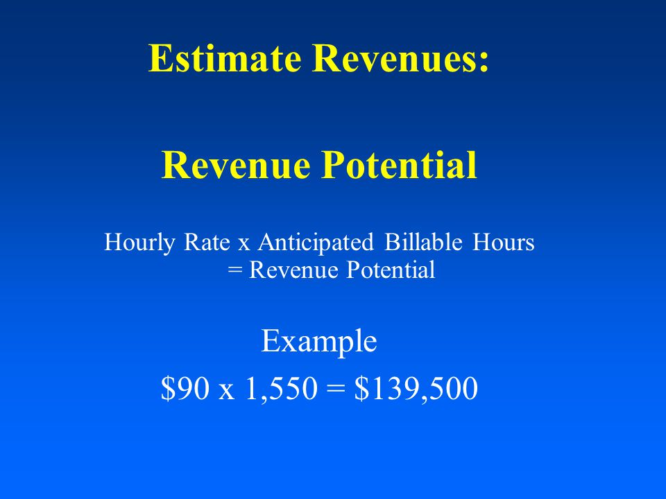 Estimate Revenues: Revenue Potential Hourly Rate x Anticipated Billable Hours = Revenue Potential Example $90 x 1,550 = $139,500