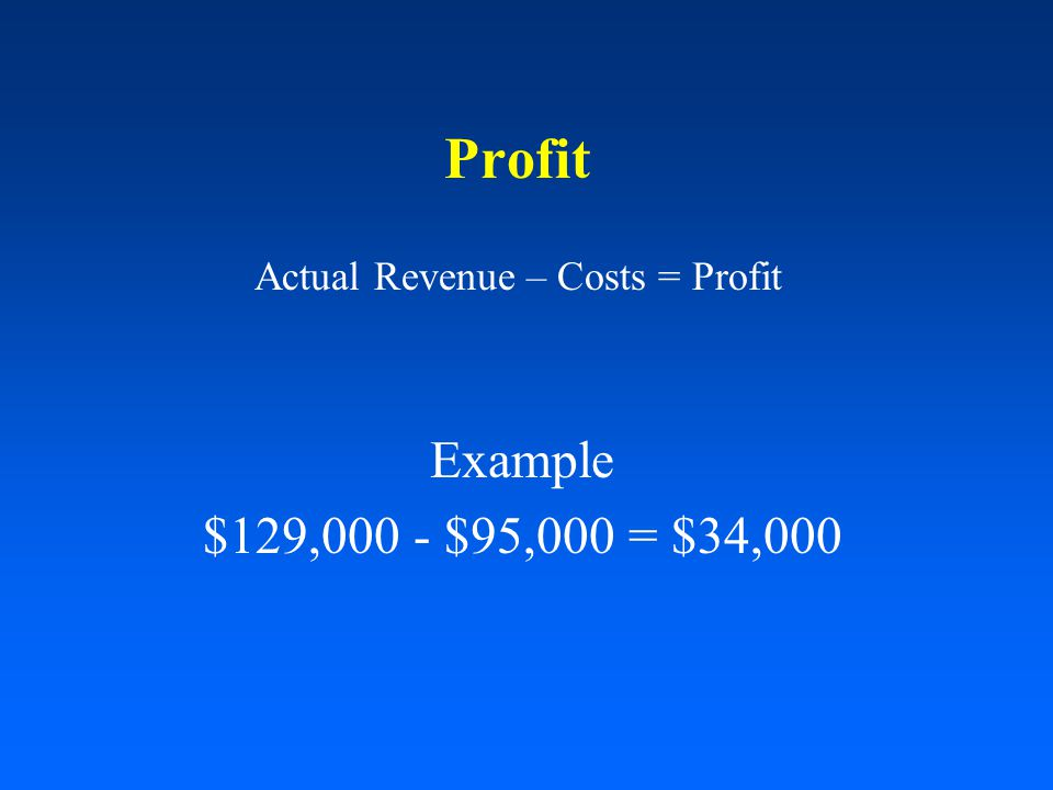 Profit Actual Revenue – Costs = Profit Example $129,000 - $95,000 = $34,000