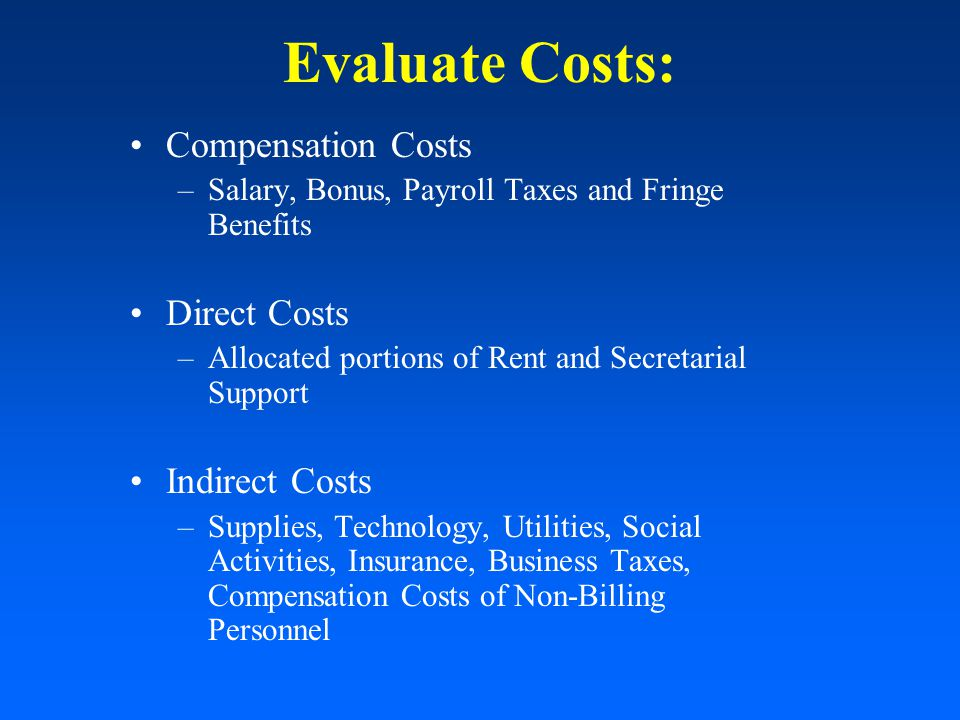 Evaluate Costs: Compensation Costs –Salary, Bonus, Payroll Taxes and Fringe Benefits Direct Costs –Allocated portions of Rent and Secretarial Support Indirect Costs –Supplies, Technology, Utilities, Social Activities, Insurance, Business Taxes, Compensation Costs of Non-Billing Personnel