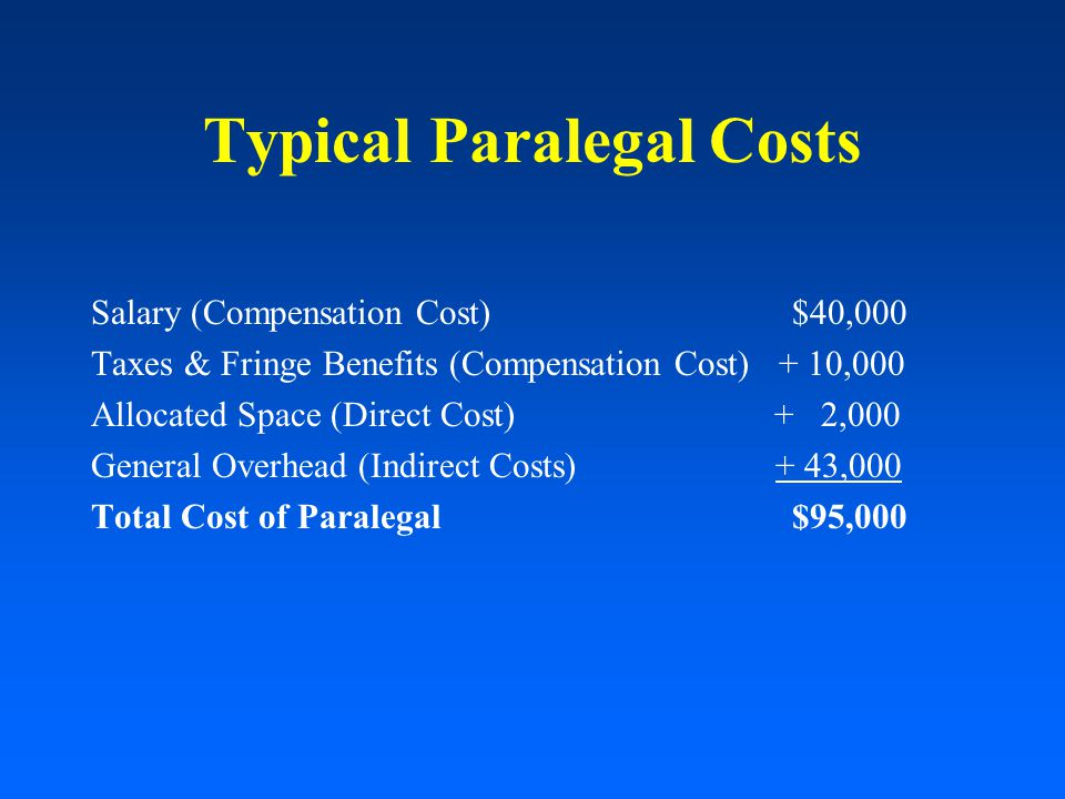 Typical Paralegal Costs Salary (Compensation Cost) $40,000 Taxes & Fringe Benefits (Compensation Cost) + 10,000 Allocated Space (Direct Cost) + 2,000 General Overhead (Indirect Costs) + 43,000 Total Cost of Paralegal $95,000