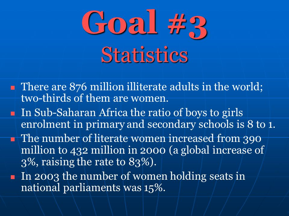 Goal #3 Statistics There are 876 million illiterate adults in the world; two-thirds of them are women. In Sub-Saharan Africa the ratio of boys to girl