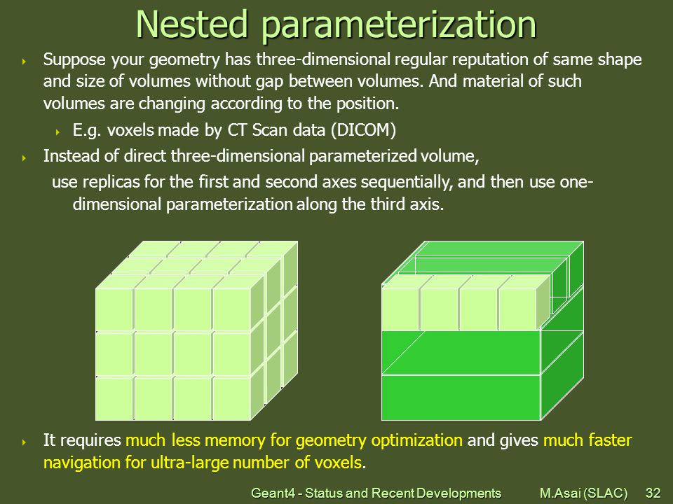 Geant4 - Status and Recent Developments M.Asai (SLAC)32 Nested parameterization  Suppose your geometry has three-dimensional regular reputation of same shape and size of volumes without gap between volumes.