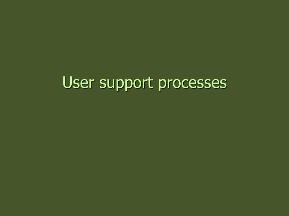 User support processes