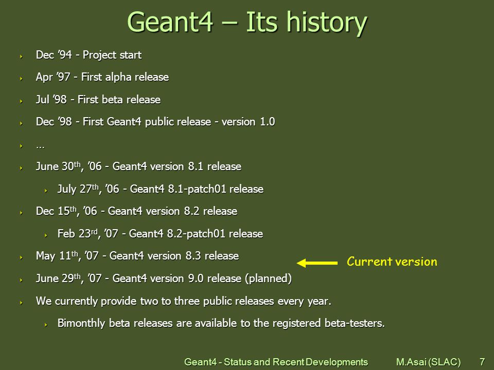 Geant4 - Status and Recent Developments M.Asai (SLAC)8 Geant4 Collaboration Collaborators also from non- member institutions, including Budker Inst.
