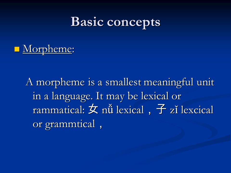 Basic concepts Morpheme: Morpheme: A morpheme is a smallest meaningful unit in a language.
