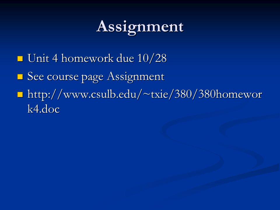 Assignment Unit 4 homework due 10/28 Unit 4 homework due 10/28 See course page Assignment See course page Assignment http://www.csulb.edu/~txie/380/380homewor k4.doc http://www.csulb.edu/~txie/380/380homewor k4.doc
