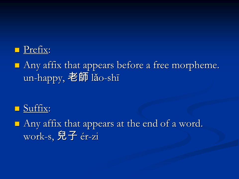 Prefix: Prefix: Any affix that appears before a free morpheme.