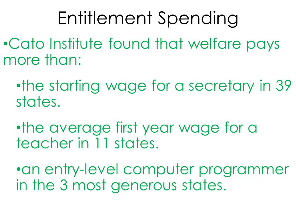 Entitlement Spending Cato Institute found that welfare pays more than: the starting wage for a secretary in 39 states.