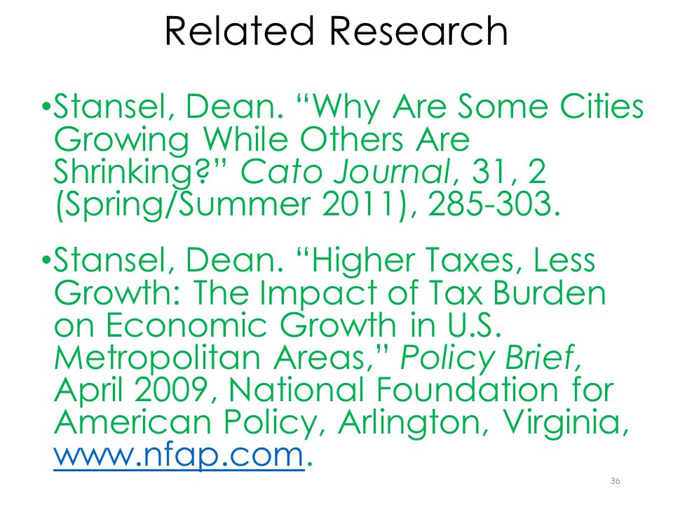 Related Research Stansel, Dean.