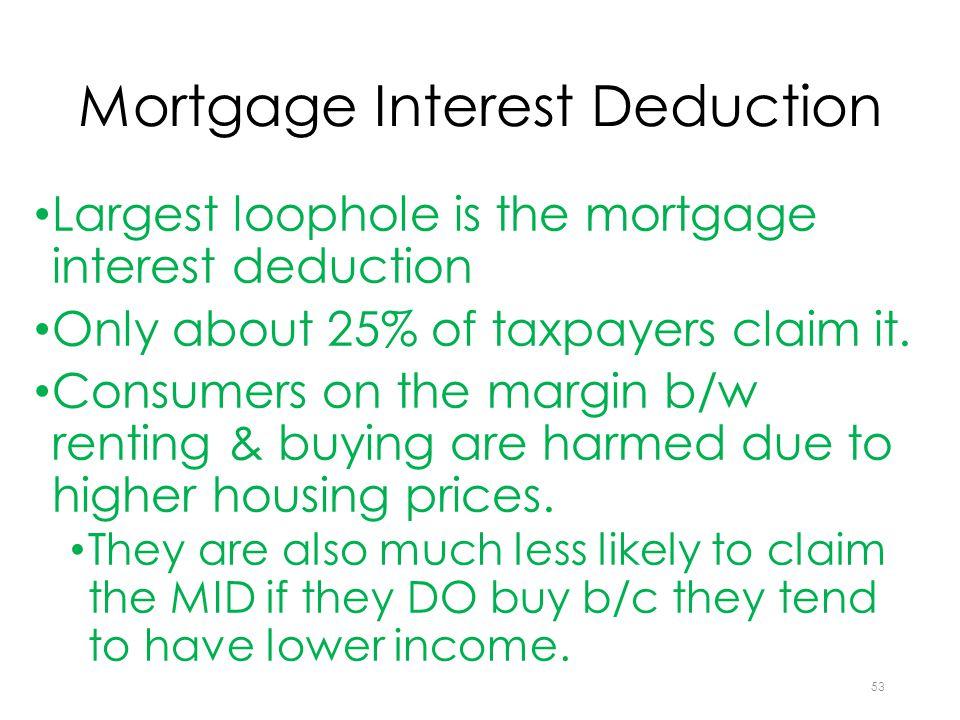 Mortgage Interest Deduction Largest loophole is the mortgage interest deduction Only about 25% of taxpayers claim it.