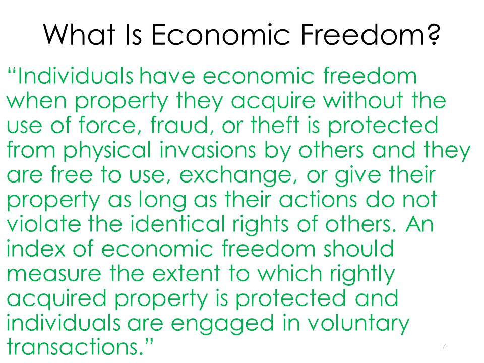 5 Components of Economic Freedom of the World Index 1.Size of government 2.Legal structure and property rights 3.Sound money 4.Freedom to trade internationally 5.Regulation 8
