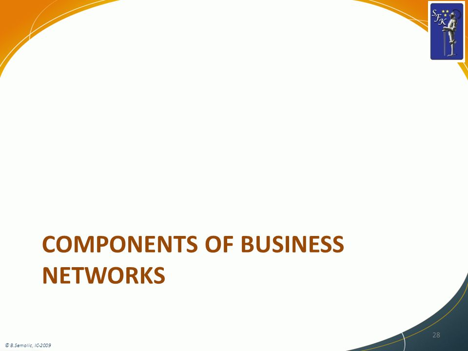 COMPONENTS OF BUSINESS NETWORKS 28 © B.Semolic, IC-2009