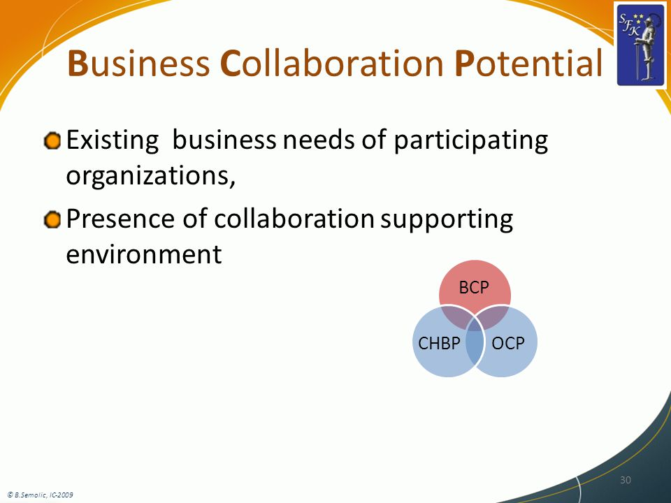 Business Collaboration Potential Existing business needs of participating organizations, Presence of collaboration supporting environment © B.Semolic, IC-2009 30 BCP OCPCHBP