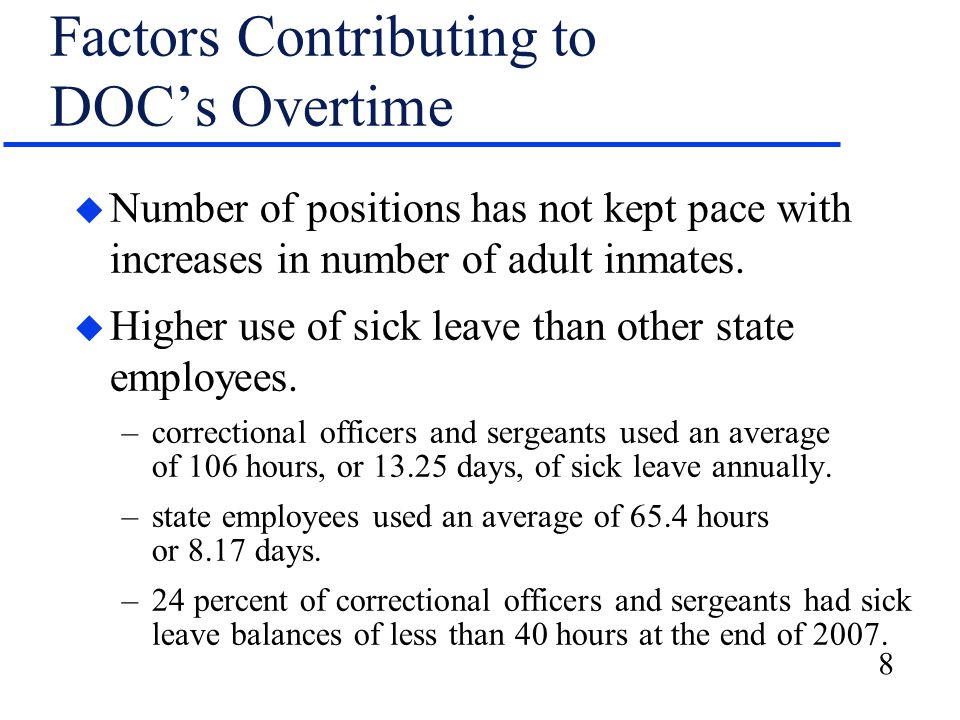 9 Factors Contributing to DHFS's Overtime u Number of authorized positions for patient care staff has not kept pace with federal regulatory requirements.