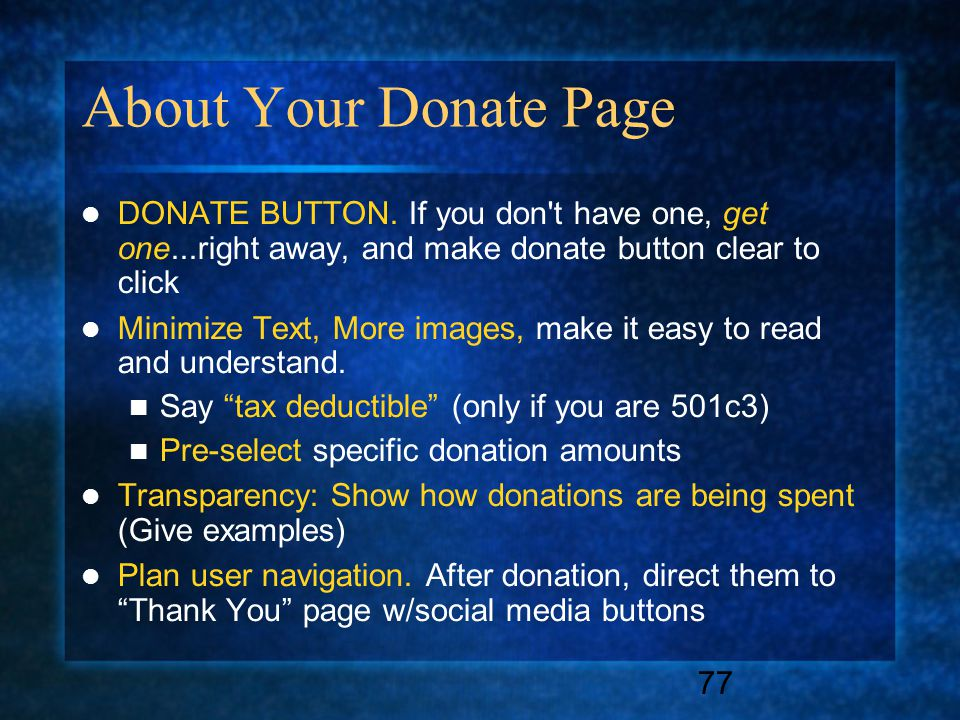 77 About Your Donate Page DONATE BUTTON.