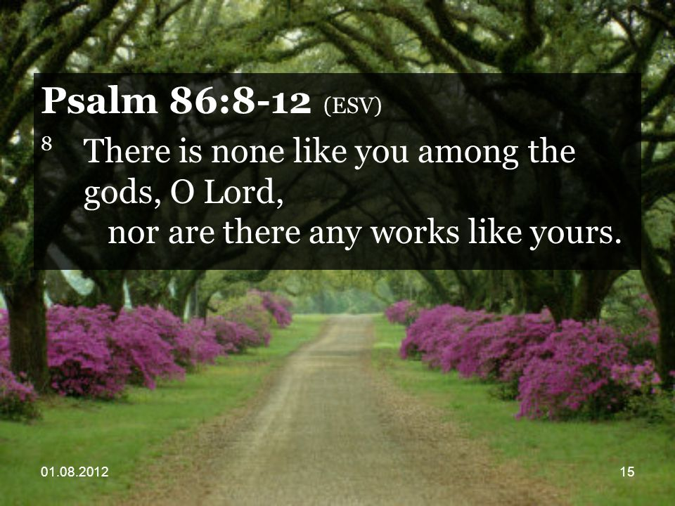 01.08.201215 Psalm 86:8-12 (ESV) 8 There is none like you among the gods, O Lord, nor are there any works like yours.