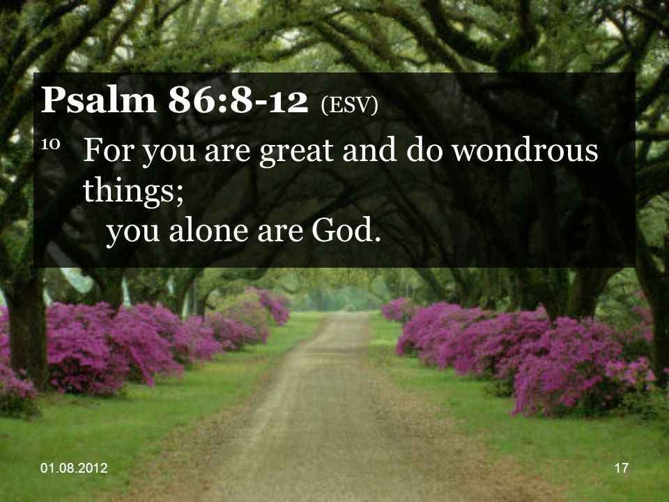 01.08.201217 Psalm 86:8-12 (ESV) 10 For you are great and do wondrous things; you alone are God.