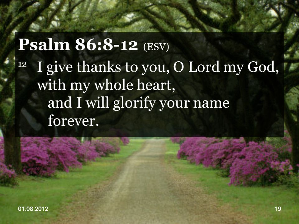 01.08.201219 Psalm 86:8-12 (ESV) 12 I give thanks to you, O Lord my God, with my whole heart, and I will glorify your name forever.