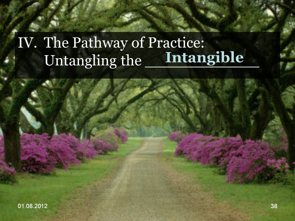 01.08.201238 IV.The Pathway of Practice: Untangling the ____________ Intangible