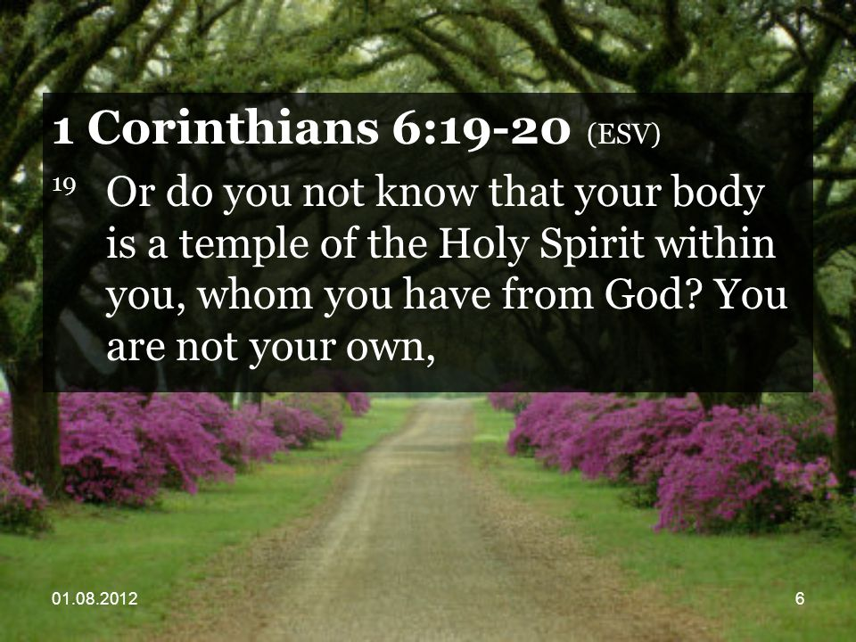 01.08.201257 1 Corinthians 10:31 (ESV) 31 So, whether you eat or drink, or whatever you do, do all to the glory of God.