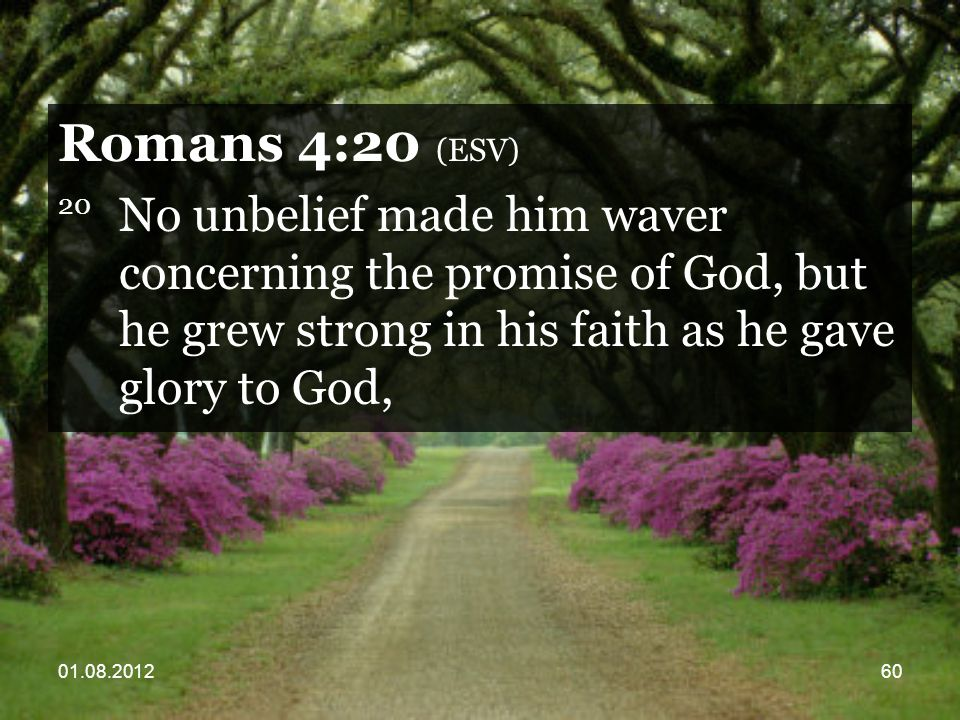 01.08.201260 Romans 4:20 (ESV) 20 No unbelief made him waver concerning the promise of God, but he grew strong in his faith as he gave glory to God,