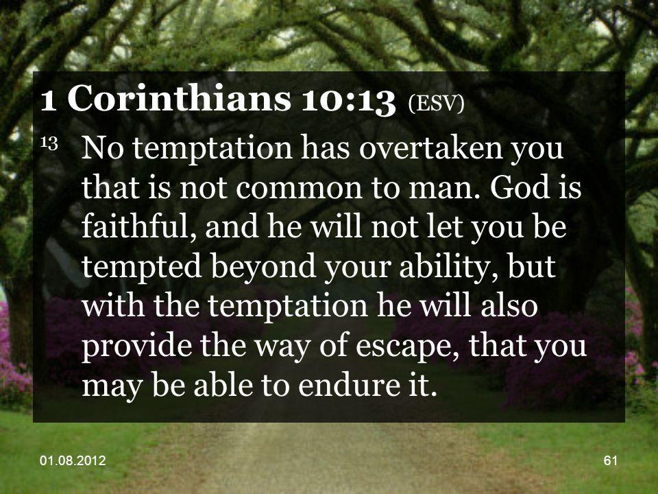 01.08.201261 1 Corinthians 10:13 (ESV) 13 No temptation has overtaken you that is not common to man.