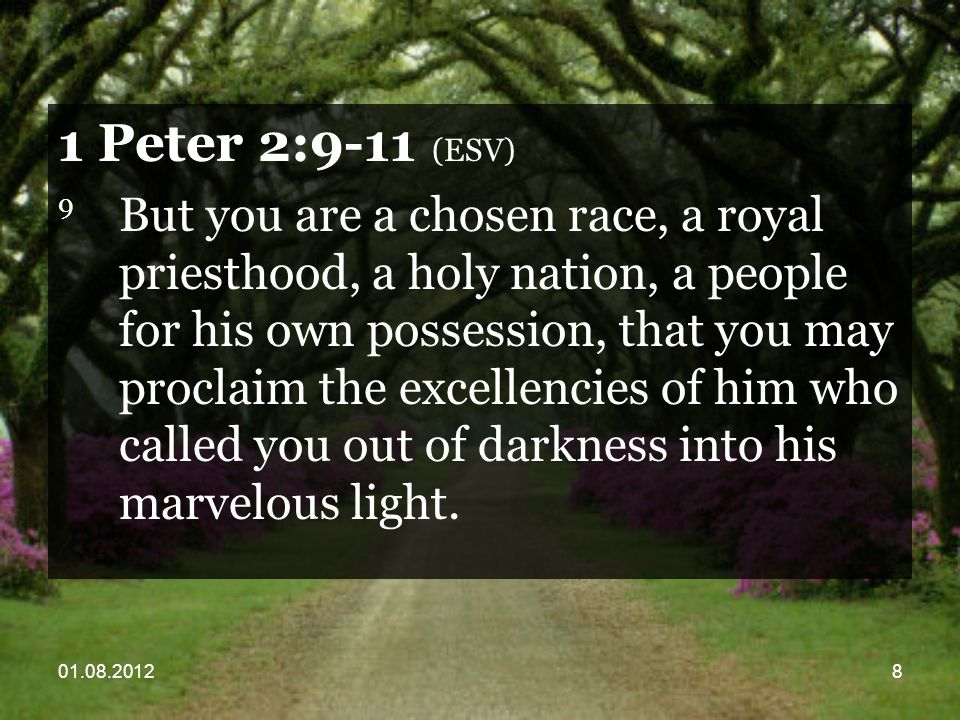 01.08.20128 1 Peter 2:9-11 (ESV) 9 But you are a chosen race, a royal priesthood, a holy nation, a people for his own possession, that you may proclaim the excellencies of him who called you out of darkness into his marvelous light.