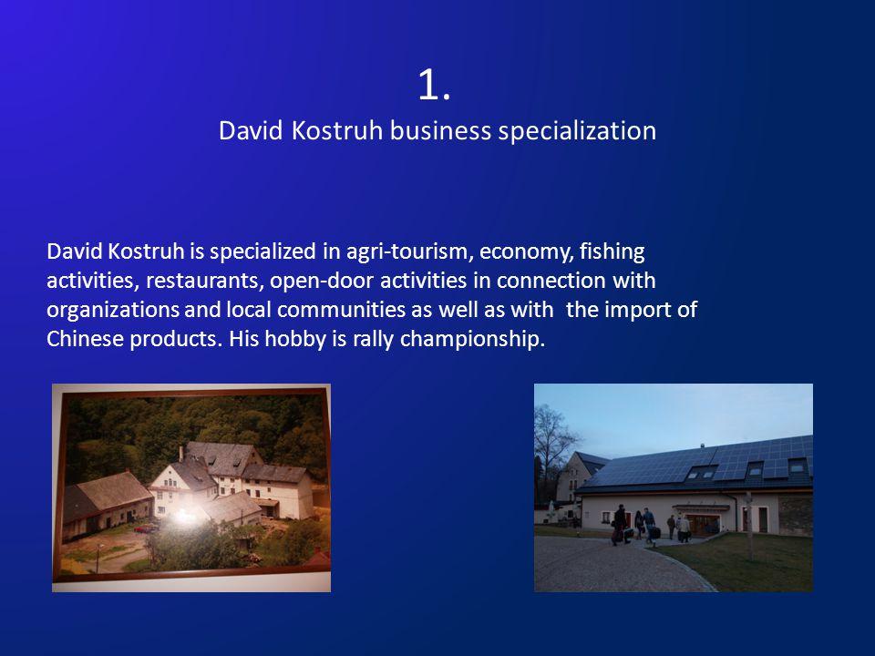 1. David Kostruh business specialization David Kostruh is specialized in agri-tourism, economy, fishing activities, restaurants, open-door activities