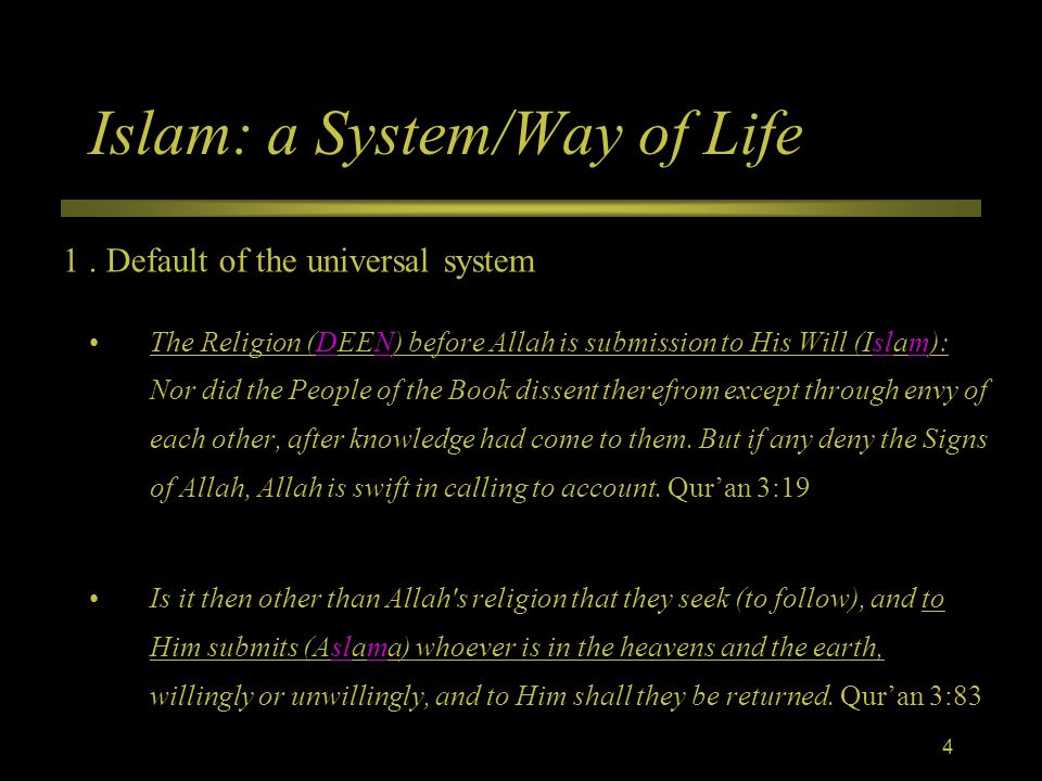 Islam: a System/Way of Life The Religion (DEEN) before Allah is submission to His Will (Islam): Nor did the People of the Book dissent therefrom except through envy of each other, after knowledge had come to them.
