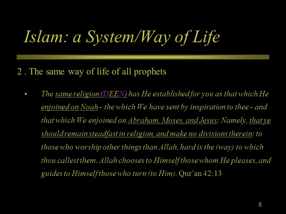 Islam: a System/Way of Life The same religion (DEEN) has He established for you as that which He enjoined on Noah - the which We have sent by inspiration to thee - and that which We enjoined on Abraham, Moses, and Jesus: Namely, that ye should remain steadfast in religion, and make no divisions therein: to those who worship other things than Allah, hard is the (way) to which thou callest them.