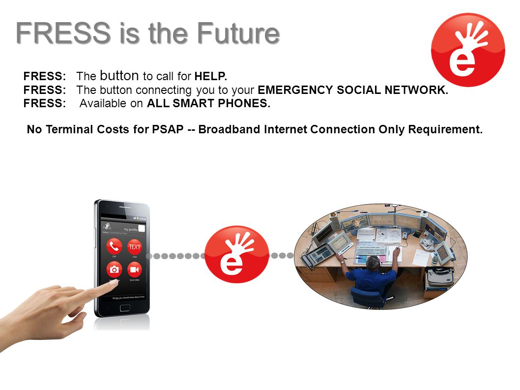 FRESS: The button to call for HELP. FRESS: The button connecting you to your EMERGENCY SOCIAL NETWORK. FRESS: Available on ALL SMART PHONES. No Termin