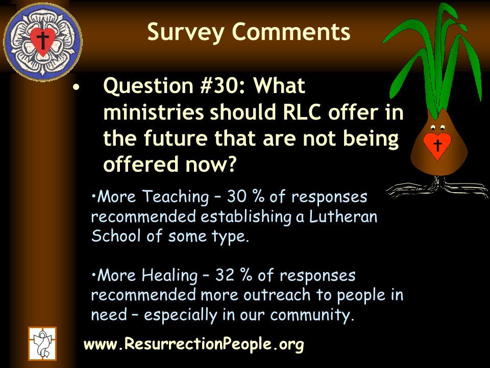 www.ResurrectionPeople.org Survey Comments Question #30: What ministries should RLC offer in the future that are not being offered now.