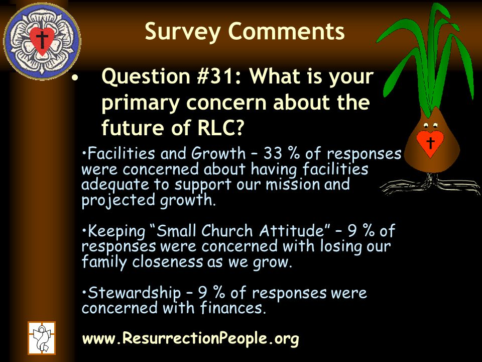 www.ResurrectionPeople.org Survey Comments Question #31: What is your primary concern about the future of RLC.