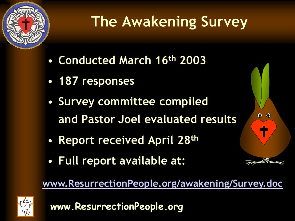 www.ResurrectionPeople.org The Awakening Survey Here are the general results of the survey… As well as planned actions for our future…