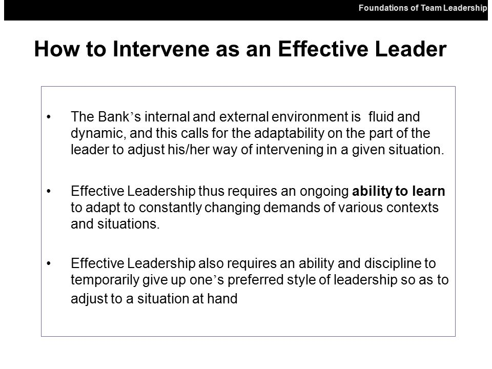 Foundations of Team Leadership The Bank ' s internal and external environment is fluid and dynamic, and this calls for the adaptability on the part of the leader to adjust his/her way of intervening in a given situation.
