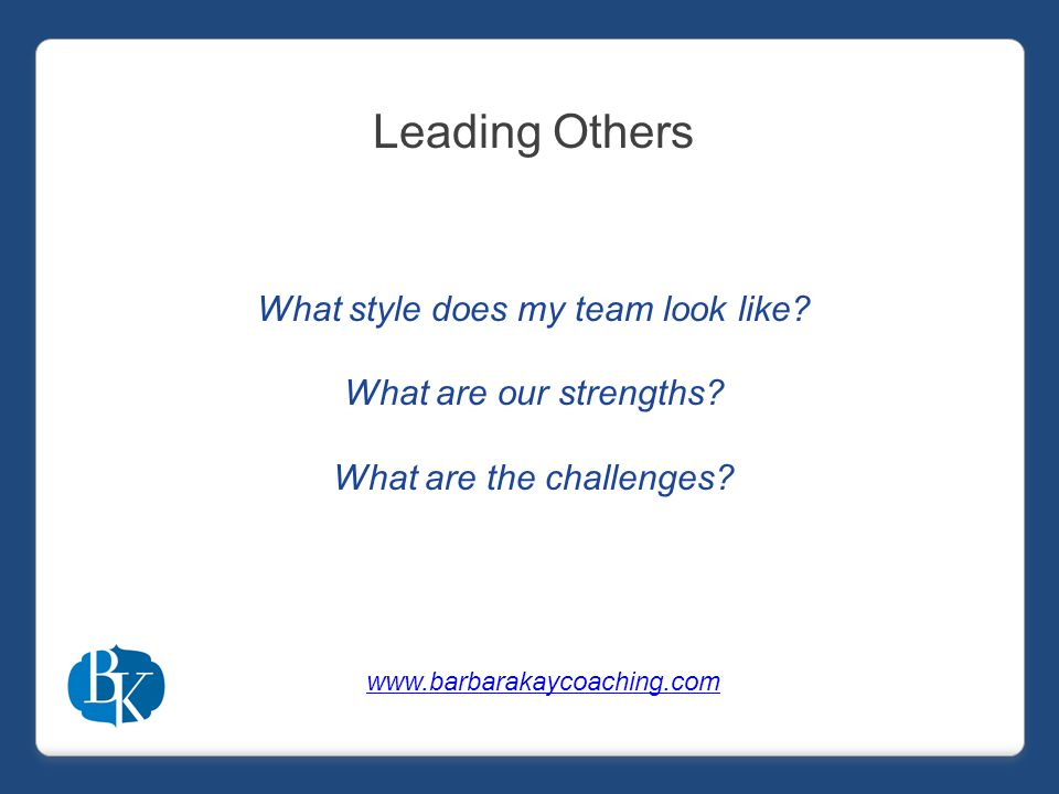 Leading Others What style does my team look like. What are our strengths.