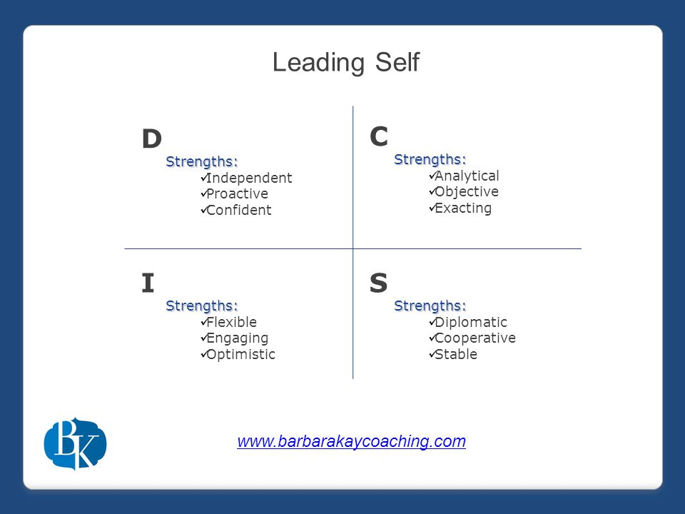 DStrengths: Independent Proactive Confident CStrengths: Analytical Objective Exacting IStrengths: Flexible Engaging Optimistic SStrengths: Diplomatic Cooperative Stable Leading Self www.barbarakaycoaching.com