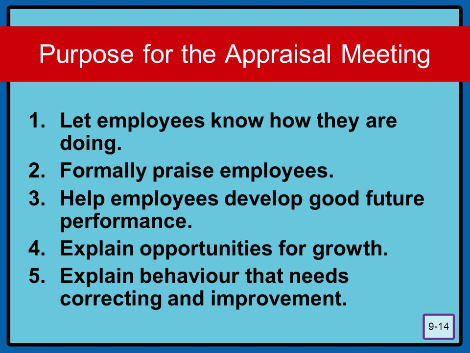 9-14 Purpose for the Appraisal Meeting 1.Let employees know how they are doing. 2.Formally praise employees. 3.Help employees develop good future perf