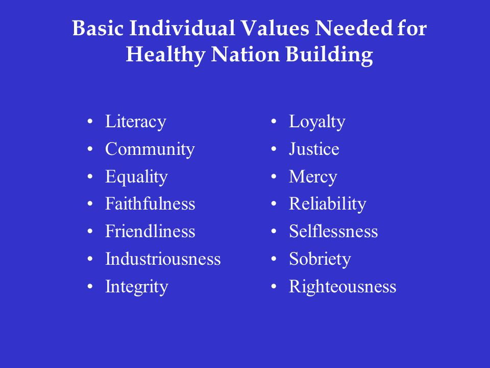 Basic Individual Values Needed for Healthy Nation Building Literacy Community Equality Faithfulness Friendliness Industriousness Integrity Loyalty Justice Mercy Reliability Selflessness Sobriety Righteousness