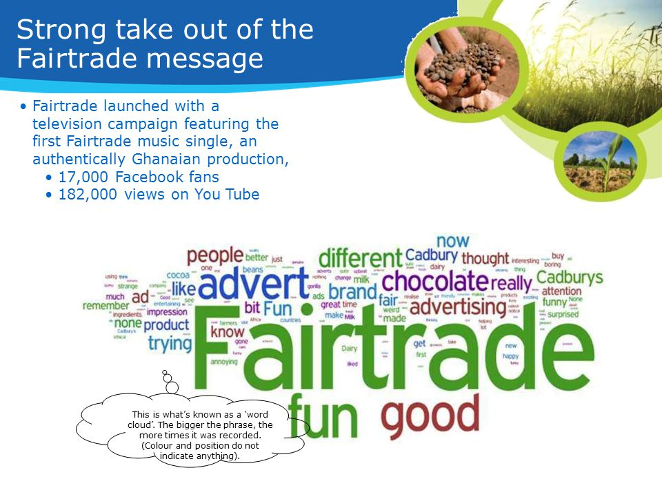 Strong take out of the Fairtrade message This is what's known as a 'word cloud'.