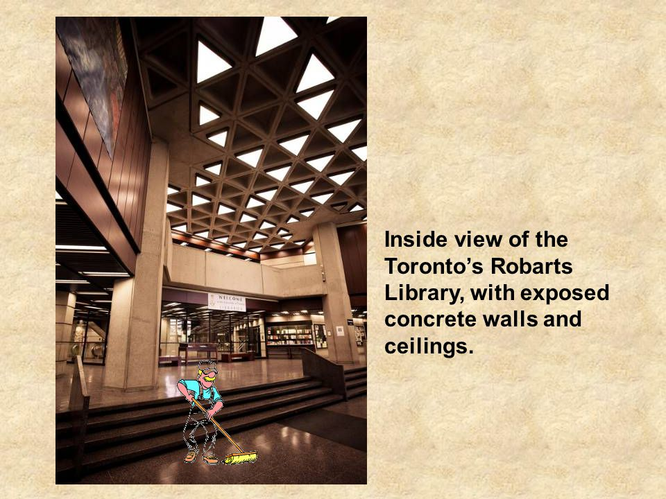 The John Robarts Library built in 1973, is the main library of the University of Toronto, Canada.The library s imposing appearance has earned it the nickname of Fort Book.