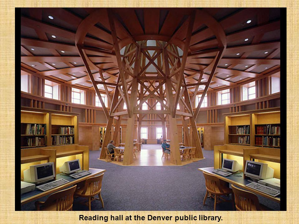 Reading hall at the Denver public library.